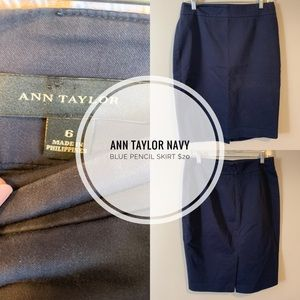 Anne Taylor Navy Blue Pencil Skirt